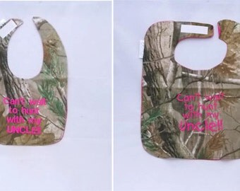 Can't Wait to Hunt With My Uncle - Small OR Large Baby Bib - Hot Pink lettering - FREE Shipping to U.S.