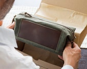 NO. 321 Groomsmen Gift Set, Personalize Toiletry Bag with Front Leather Pocket, Monogram Dopp Kit, Waxed Cotton Canvas and Horween Leather