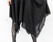 WITCHY HALF SLIP black nylon tricot lingerie skirt with lace trim