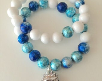 Blue, turquoise, white beaded stackable bracelet set with buddha head charm