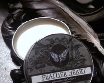 Feather Heart  Natural Solid Perfume Gypsy Apothecary Carrot Seed, Hay ,Sweet Fennel, Green Tea, Agarwood,Apricot, Amyris, Benzoin ,