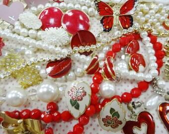 Gems and Jewels Junk Plunder Estate Jewelry Findings Embellishment Crafty Stash Destash Altered Mixed Media Art Lot