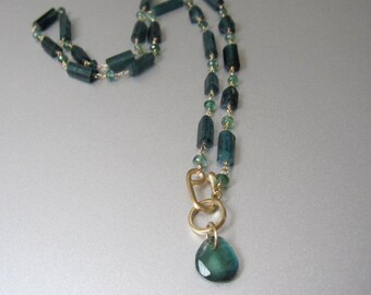 Blue Green Indicolite Tourmaline Solid 14k Gold Necklace