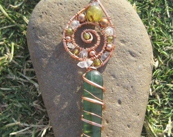 Grounded in Love///Open Heart//Sacred Spiral/// Green Kyanite, Green Garnet, Pakimer Quartz, and Copper Wire Wrap Pendent, Handmade, Art