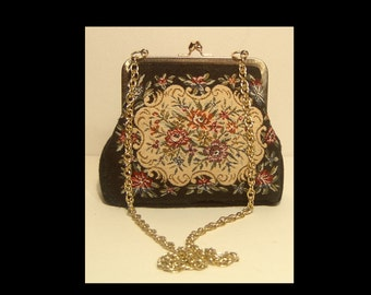 Black wool floral tapestry cross body purse ~ long gold tone chain crossbody strap ~ made in Japan 1950s 1960s 60s Japanese ~ kiss lock bag
