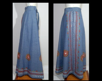 Bohemian Woodstock flowy1960s 1970s dark blue denim skirt Large XL ~ embroidered flowers ~ made in Pakistan cotton maxi ~ wrap belt India