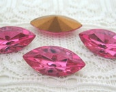 15x7 Swarovski Rose Pink Navette Glass Rhinestone Jewels Qty 4