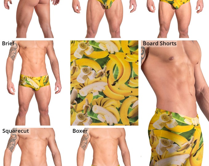 Yello Bananas on Green Leaves Swimsuits for Men by Vuthy Sim.  Thong, Bikini, Brief, Squarecut - 151