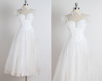 Wedded Bliss .  vintage 1950s wedding dress . vintage beaded wedding dress . 5058