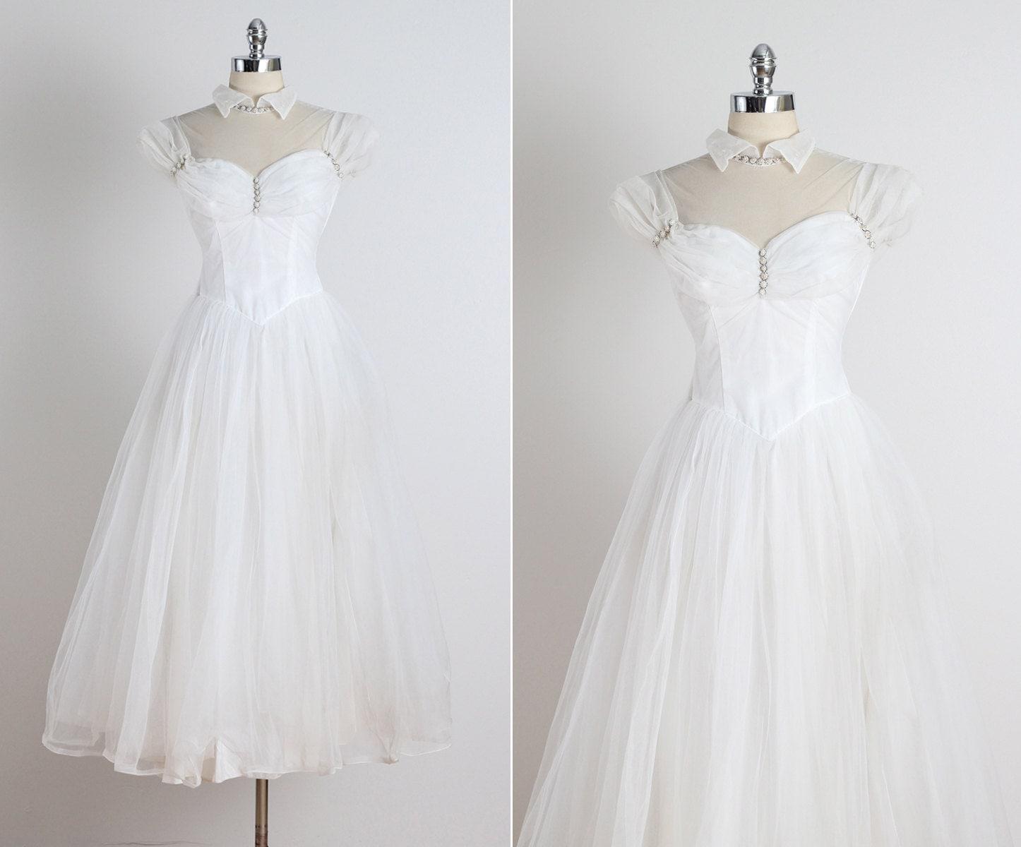 Wedded Bliss Vintage 1950s Wedding Dress Vintage Beaded
