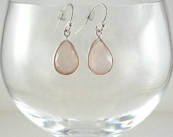Rose Quartz Earrings Gemstone Earrings Pale Pink Quartz Earrings Rose Quartz Gemstone Earrings Sterling Rose Quartz Drop Earrings
