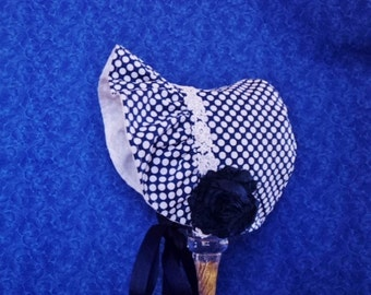 Baby Bonnet Navy Blue and White Polka Dots