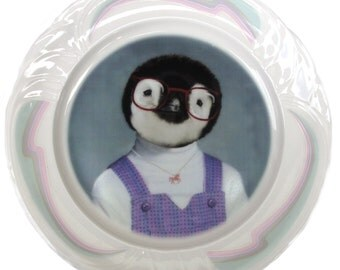 NEW PORTRAIT*** Penelope the Penguin, School Portrait - Altered Vintage Plate 8.4""
