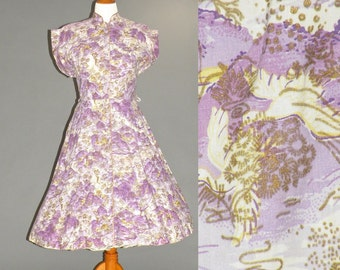1940s Dress, 40s Cotton Novelty Dress, Size L - XL