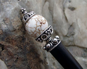 Cream Magnesite and Sterling Silver Hair Stick Ethnic Design Hair Accessory Stone Hairstick Pin - Dreena