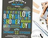 Baby Shower Invitation, Typography, Modern and Simple, Teal, Grey, Baby Boy, Lime Green, Printable, DIY, Digital or Printed Invitation