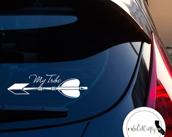 My Tribe Vinyl Decal, Family Decal, Arrow, Laptop Decal, Laptop Sticker, Car Window Decal, Tribal, Calligraphy, Typography Decal