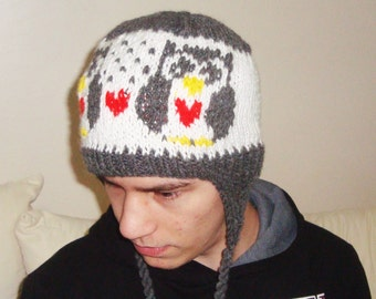 Knit Owl Hat Adult Men Women Winter Ear Flap in Grey, White, Red, Yellow Cute Owl Lover Gifts Valentines day outfit