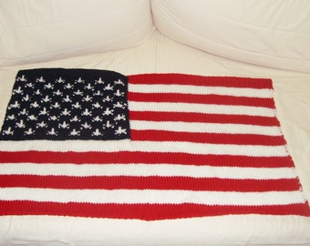 19x31 American Flag Baby Blanket, American Baby Gift, US baby gift, red white blue, Knit American flag, USA Flag new baby Fourth of July
