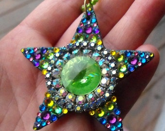 "Spring Star, 2.5"" shining star, swarovski, gems, peridot, rainbow, sunshine, color, happy, Easter, Spring, Goddess, necklace"