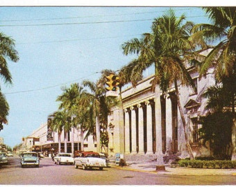 First Street Scene Cars Post Office Fort Myers Florida postcard