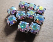 Lot of 10 round Crystal AB Chatons 6mm