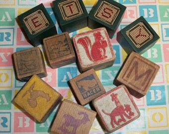 12 Wooden Child's Building Blocks