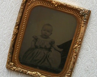 Tintype Infant w/ Hidden Mother - Framed in Brass