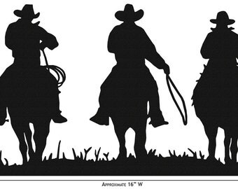 Hand Made Three Cowboys Western Simple Silhouette *NEW*