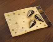 Beige Bronze Platter Fused Glass Plate Falling Leaves Organic Design Handmade