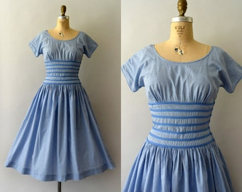RESERVED LISTING -- 1950s Vintage Dress - 50s Gay Gibson Blue Gingham Sundress