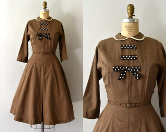 1950s Vintage Dress - 50s Brown Gabardine Dress