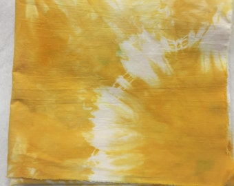 """Hand Dyed Marigold Colored Fabric, Dyed White Kona Cotton Muslin, Yellow Fabric, 14.25"""" x 25.75"""", Quilt Fabric, Sewing, Craft, Applique"""