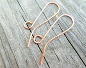 Ear Wires Long Hook 20g Hammered 35mm Choose from Sterling Silver, Nickel Silver, Silver Plate, Copper, Oxidized Copper or NuGold