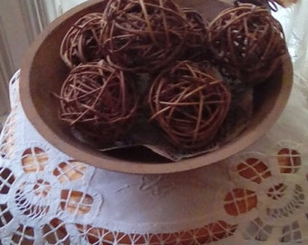 "6 Twig Balls 2"" Grapevine Fixins Harvest Autumn Crafts Naturals Primitive Lodge"