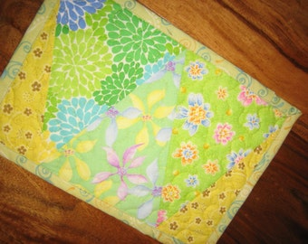 Mug Rug, Shabby Chic Flowers in Green and Yellow, Quilted Table Mat, Triangles, Kid's Room Decor, Eco Friendly Table Decor, Handmade Mug Rug