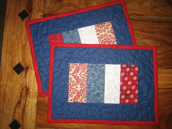 americana mug rug snack mat red white and blue 4th by tahoequilts. Black Bedroom Furniture Sets. Home Design Ideas