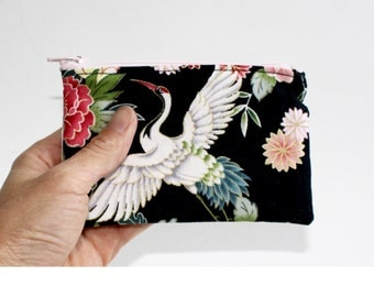 Small Zipper Pouch in black with Japanese crane