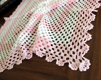 Table Topper, Vintage Linens, Large Crochet Centerpiece or Doily Pink and White 13538