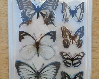 Butterfly Stickers 3D Black and White  by Fly Stickers