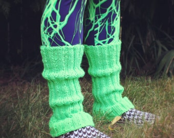 Neon Green Hand Knit Leg Warmers Seattle Seahawks