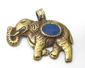 1 Pendant - Tibetan brass elephant pendant antiqued finish with lapis inlay and reverse lotus flower carving - PM526C