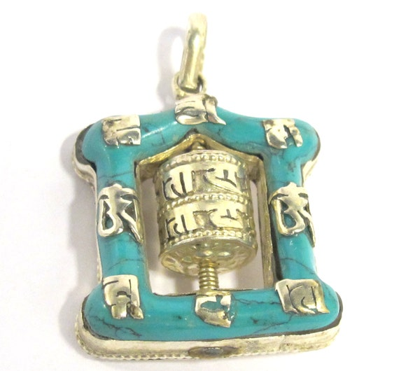 Tibetan silver Turquoise inlaid spinnable buddhist prayer wheel om mantra pendant from Nepal - PM113