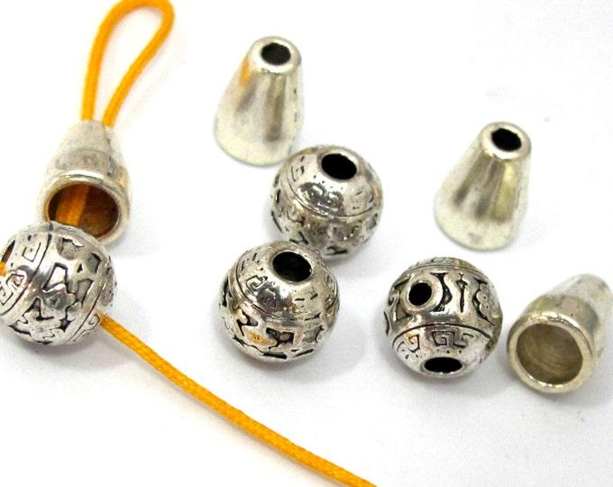 3 sets - Guru beads - Tibetan mala making 3 hole guru bead set 9-10 mm size - GB041s