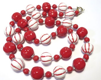 Red and White Kazuri Necklace, Ceramic Jewelry, Kazuri Bead Necklace, Red and White kazuri Necklace