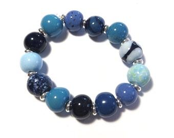 Beaded Bracelet, Kazuri Bangle, Fair Trade, Ceramic Jewellery, Shades of Blue Bracelet