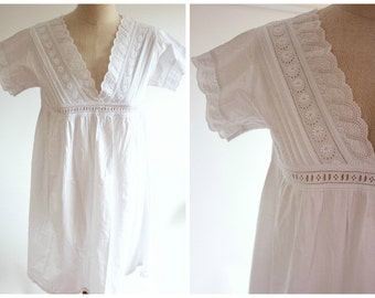White Cotton Smock Dress Embroidery Anglaise