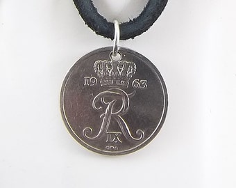 Denmark Coin Necklace, 10 Ore, Coin Pendant, Leather Cord, Mens Necklace, Womens Necklace, Birth Year, 1963