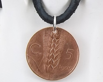 1925 Italian Coin Necklace, 5 Centesimi, Coin Pendant, Leather Cord, Mens Necklace, Womens Necklace, Vintage