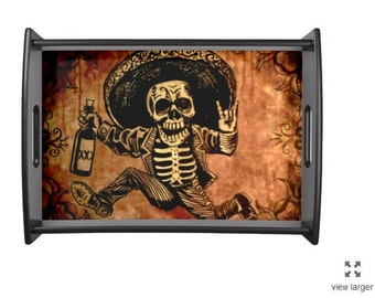 Posada inspired Tequila Bandit Skeleton Serving tray